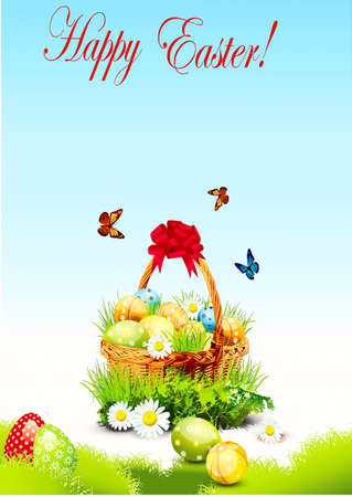 On a blue background a small basket is with easter eggs, grass, butterflies Illustration