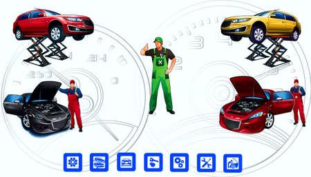 repair man: Servicio t�cnico de, autom�vil, maestro, logotipos, veloc�metro Vectores
