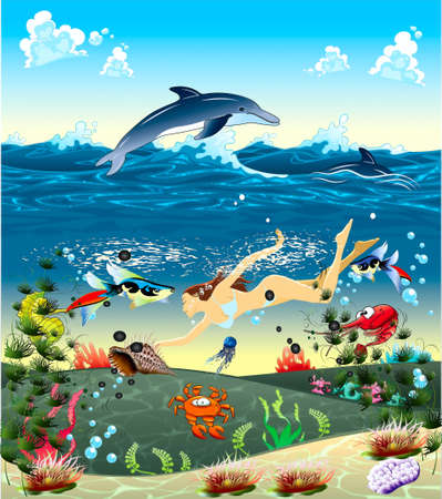 Girl, diving in a sea after a cockleshell, tropical finfishess, dolphins Vector