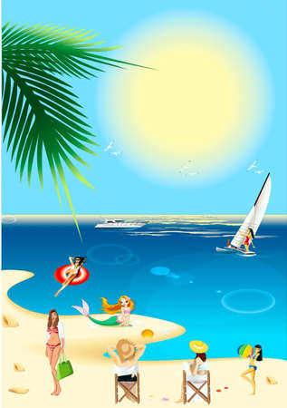Girls holiday-makers at the seaside and mermaid ashore Stock Vector - 17612557