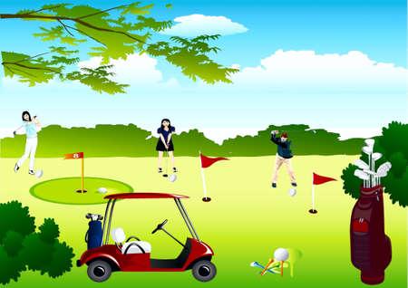 Field for golf, players, car, set of hockey-sticks