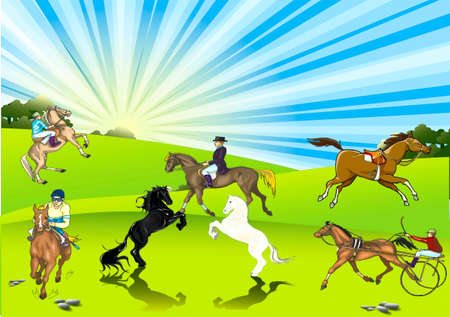 Horse bareback and horse with horsemen on to the meadow Stock Vector - 17612555