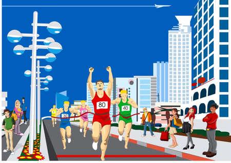 Marathon sportsmen-racers on a finish