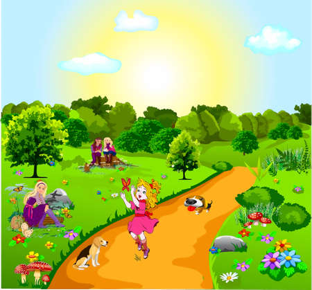 summer beautiful forest landscape with colors and trees, three girls, sittings  on stumps and on a log with animals in hands, a girl catching a butterfly, Stock Vector - 17882104