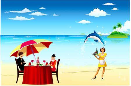 petit dejeuner romantique: Romantique petit d�jeuner � terre mer, dauphins gambader, serveuse avec un plateau