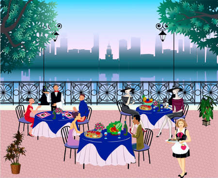 Street cafe with dinner-wagons, visitors and waiters  Illustration