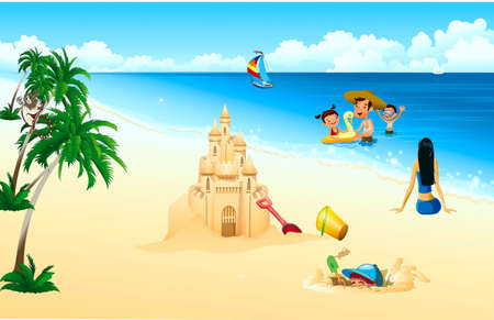 Family, children with a father bathe at-sea, a mother sit ashore, palms and palace from sand