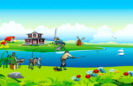 Fishermen fish, swans swim to down the river, ashore house and windmill Stock Vector - 17882134