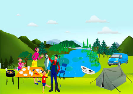 Family rests ashore lake, a man took fish, a tent, machine, table,  brazier, tent Stock Vector - 17882138