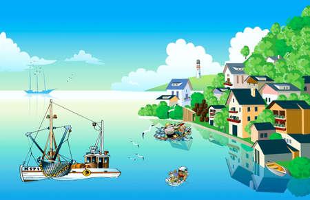 Ashore sea fishing settlement and lighthouse, at-sea fishings ships, boats with fishermen