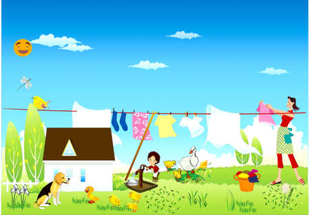A woman hangs the washed linen on a rope, a boy types water from  column,a dog sits near a house, goose ,chicks and duckling graze  Stock Vector - 17882136