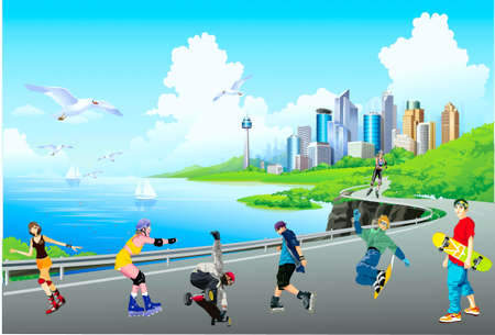 Young people go for a drive on a city embankment on roller roller skates and on skateboards Illustration