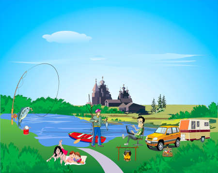 family van: Family rests on the riverside, a father, mother, children, boy, took fish, alongside a machine costs with a van, in the river boat with an oar