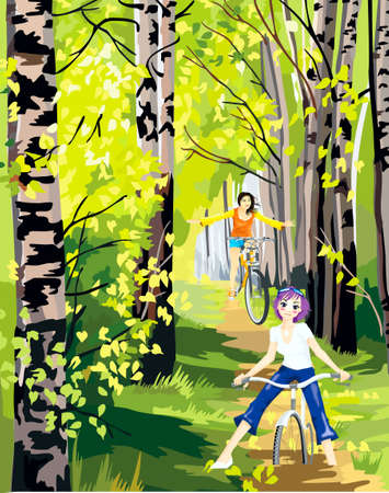 Two girls go for a drive on bicycles on the forest Stock Vector - 18151738