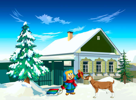 A boy with sledges near a house feeds with a goat a carrot Illustration