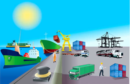 Territory of container area of marine port, loading of   on a ship  Illustration