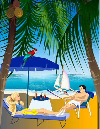 A man and woman rest ashore sea, at shore a catamaran costs with a sail, a parrot sits on an umbrella Stock Vector - 18151741