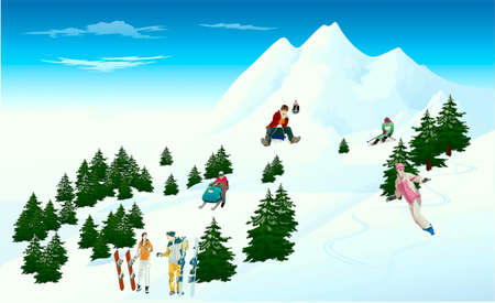 People, going for a drive on a mountain slope on skids  and sledges