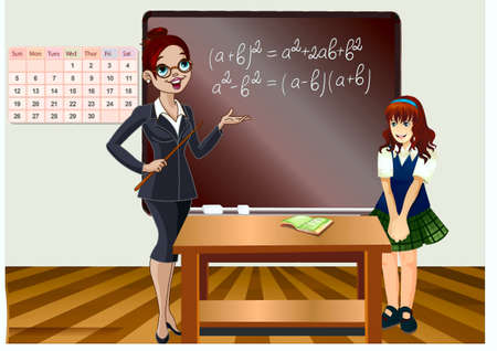 student, at a board on the lesson of algebra