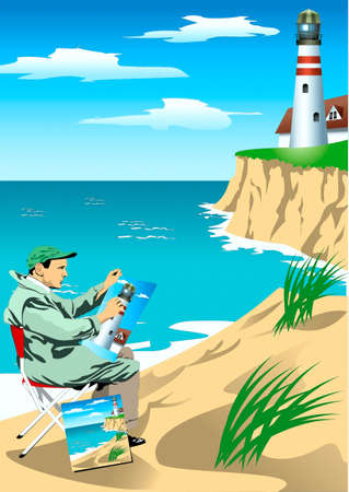 A sitting ashore artist draws landscape with a lighthouse  Illustration