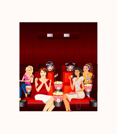 theatre audience: Girls, looking a film in a movie theater Illustration