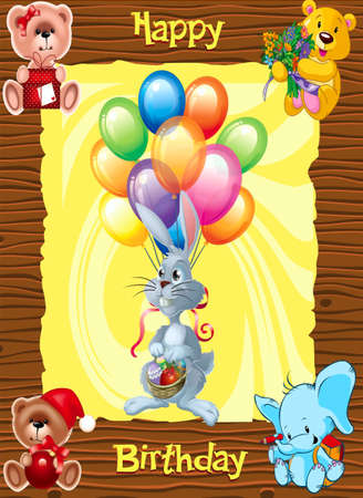 Congratulation for a child with a birthday Illustration