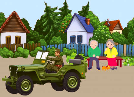 Old men accompany  an arriving in guests military son Stock Vector - 18754023