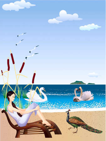 A girl, holiday-maker, ashore float,в water swans, a peacock walks on a bank Stock Vector - 18754022