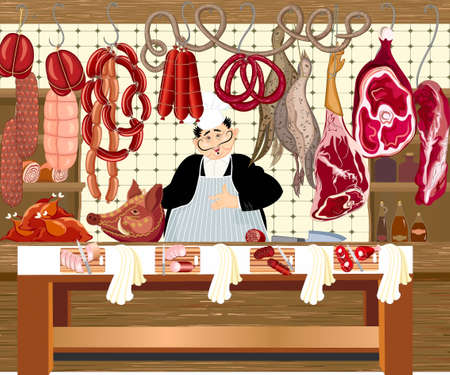 Butcher shop with hangings накрюках by meat products