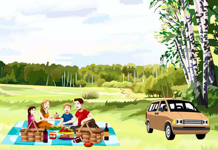 costs: Family on a picnic on a forest glade has dinner, a machine costs alongside