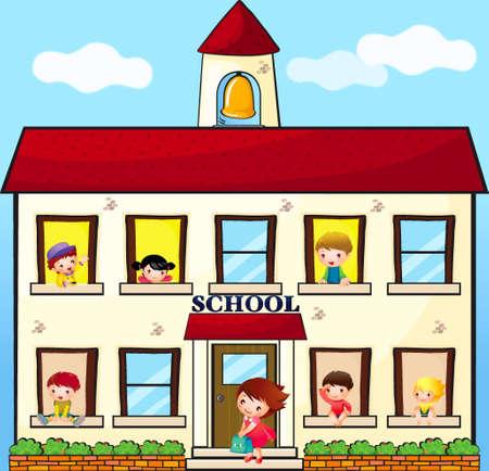 Building of school and children is in windows