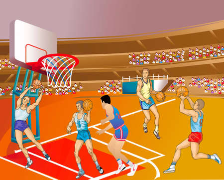 Training of basketball-players on a stadium Vector