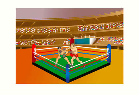 Two boxers on a ring