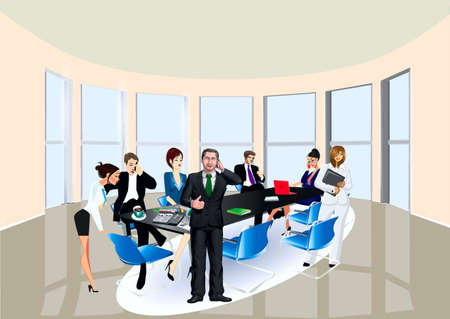 women talking: In the hall of conferences at the table employees, chief sit talks by phone