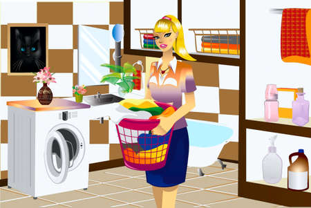 A woman in a bathroom is engaged in the washable of linen