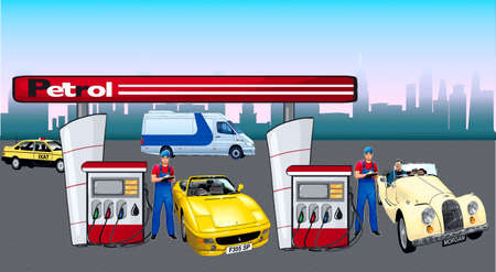 filling station: The filling station, cars and workings refuellers, is placed near columns  Illustration