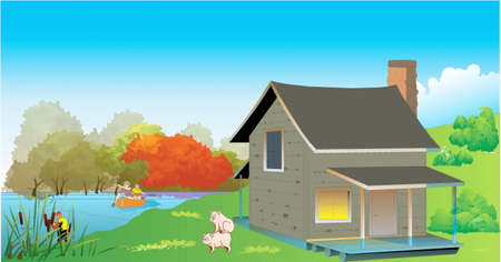 A cottage ashore, playing pigs, man fishes, to down the river a man and woman swim in a boat Stock Vector - 19247021