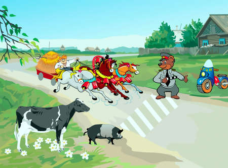 Rural road, three of horse driving cartful of hay, zebra crossing, traffic inspector and animals Vector