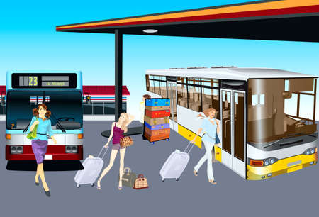 Bus terminal people going to the bus Vector