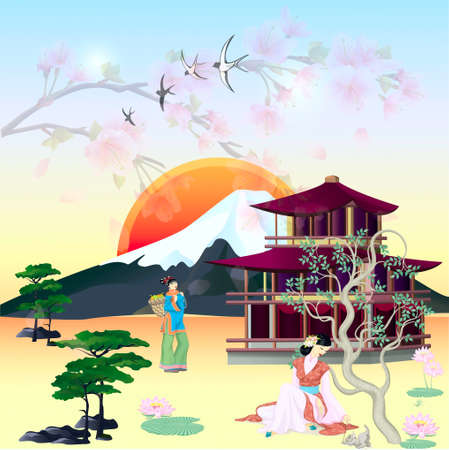On a background a mountain and pagoda of girl of Japanese in national suits Vector