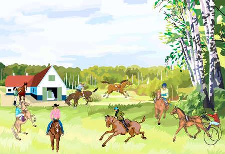 Koneferma, horse with horsemen