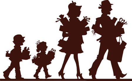 Silhouette of family, man, woman and children, going along with purchases Stock Vector - 19448968