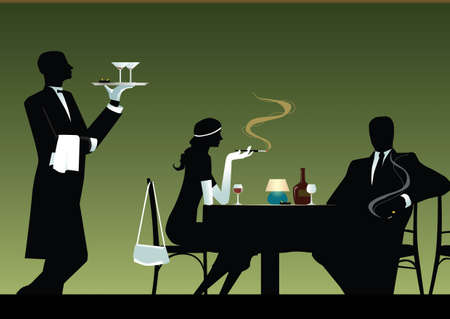 Pair, being at a table in a restaurant and waiter of,silhouette Vector