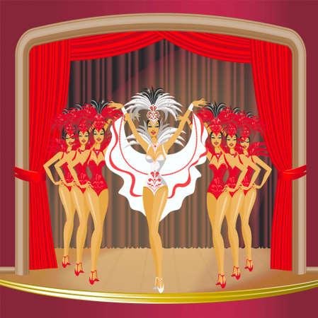 Show of cabaret on the stage Illustration