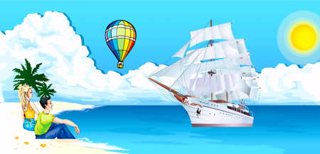 A man and woman sit ashore sea,по a clipper swims a sea, in sky zeppelin lin Illustration