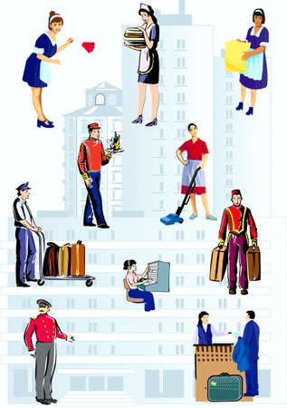 On a background height building of profession of workers of hotel Vector
