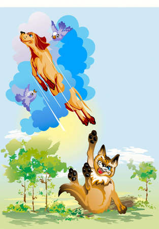 Dog, running away in sky from a spiteful cat