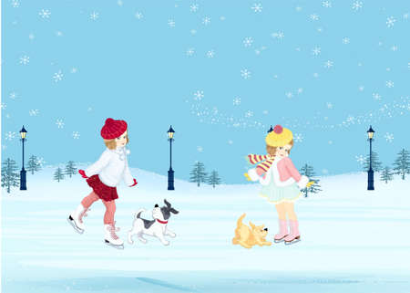 skating rink: Girls with dogs on a skating rink