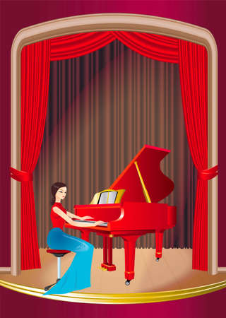 Girl, playing the red piano on the stage Vector