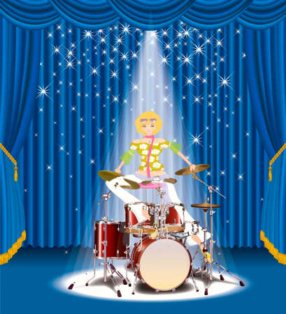 Girl on the lighted up stage after the drum setting